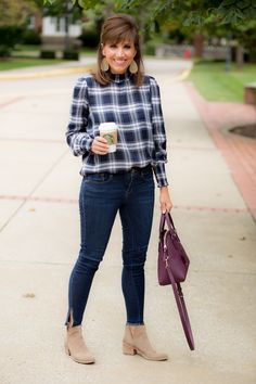 Plaid Blouse + Booties for Fall