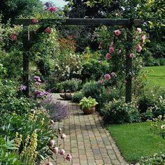 climbing roses on a pergola, brick pathway Back Gardens, Small Gardens, Outdoor Gardens, Garden Arbor, Garden Paths, Rose Arbor, Garden Arches, Garden Cottage, Garden Borders