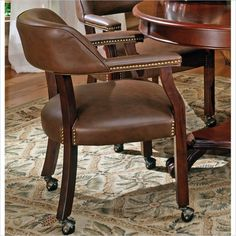Jessica Charles Fine Upholstered Accents Ritz Game Arm Chair With Casters    Jacksonville Furniture Mart   Dining Chair With Casters Jacksonville, ...