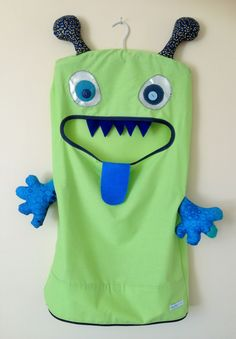 Monster Laundry/Toy Bag, Exquisite Lime Green & Blue 2 Eyed Friendly Monster, I'm a Pet, Bag, girls, boys, toddler, Christmas present, gift by ColourMeldDesigns on Etsy