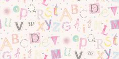 Lettres Pink (7281 0129) - Casamance Wallpapers - A sweet alphabet design with a hand drawn effect. Shown here in pink, blue, green, grey, yellow and purple on a pale cream background. Other colour way available. A paste the wall product. Please request a sample for true colour match.