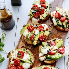 Grilled Avocado Caprese Crostini Recipe Lunch and Snacks, Appetizers with sourdough loaf, garlic olive oil, avocado, cherry tomatoes, bocconcini, basil leaves, balsamic reduction