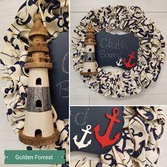 Nautical Wreath  #goldenforrest #goldenforrestcreations #wreath #doordecor #lighthouse #anchor #nautical #nauticaldecor #chalkboard #navy #cotton Nautical Wreath, Homemade Wreaths, Burlap Wreath, Lighthouse, Anchor, Chalkboard, Monogram, Bows, Navy