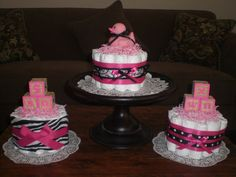 Items similar to Zebra or damask or polka dots leopard Hot Pink and black Baby Shower Centerpieces Diaper Cake bundt cakes other topers and styles too on Etsy Baby Shower Centerpieces, Baby Shower Decorations, Baby Shower Cake Pops, Baby Boy Shower, Baby Shower Gifts, Baby Shower Parties, Baby Shower Themes, Shower Ideas, Bebe