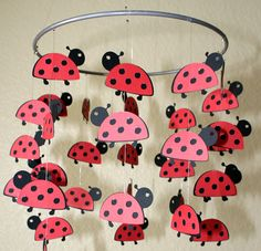 Lovely Little Ladybugs Mobile 8 Ring by artCboutique on Etsy Classroom Crafts, Preschool Crafts, Diy Crafts, Bird Party, Ladybug Party, Ladybug Nursery, Drone Bee, Bee Pictures, Class Decoration