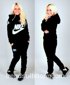 Article CTT00027 #zip #hood #tracksuit Order of this product only by wholesale catalog at our website. Stylish womens warm hooded zip black tracksuit.
