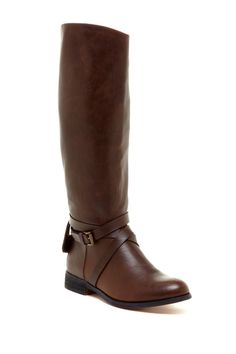Tall kn ee knee length leather boot. Milk Chocolate color with side buckle