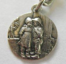 Antique Art Nouveau German Silver Repoussé Sweetheart Charm ~ Nice Detail
