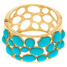 Stretch+bracelet+in+gold+with+geometric+faux+turquoise+stone+accents.  +  Product:+BraceletConstruction+Material:+