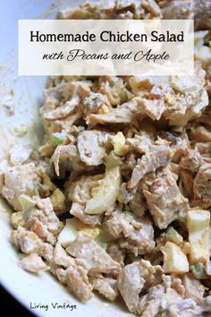 If you like to eat lighter in the summertime like I do, I think you'll really like my chicken salad recipe. The pecans and apple are completely optional.