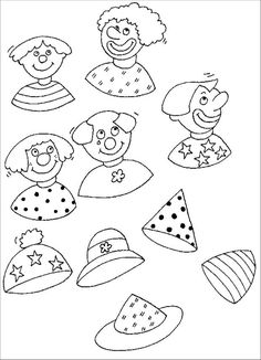 Printable coloring pages Preschool Worksheets Carnival - Coloring page Connect every clown with his hat Clown Crafts, Circus Crafts, Carnival Crafts, Carnival Themes, Circus Theme, Coloring Book Art, Coloring Pages, Kindergarten Worksheets, Preschool Activities
