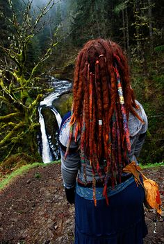 Beaitiful girl with gorgeous dreads in Tripple Falls, Oregon.