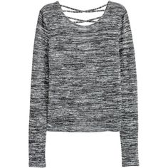 H&M Fine-knit Sweater $6.99 (€6,63) ❤ liked on Polyvore featuring tops, sweaters, fine knit sweater, surplice top, low cut tops, long sleeve v neck sweater and strappy top