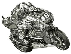 Valentino Rossi Motorcycle Drawing Art Print #VR46 MotoGP