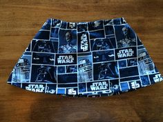 Little girl/toddler skirt featuring your friends from the alliance. Luke Skywalker, Yoda, C-3PO, R2-D2 and the man with the mask, Darth Vader