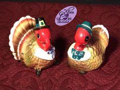 Vintage Ceramic Norcrest Pilgrim Mr & Mrs Turkeys Salt and Pepper Shakers Made in Japan by XtraLoveIncluded on Etsy