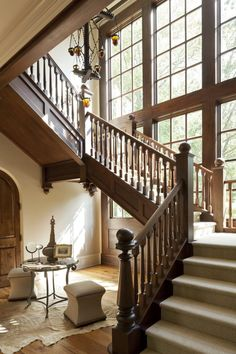 English Country Residence Staircase Architectural Detail English Country Traditional by Harrison Design Wood Railing, Wood Stairs, Banisters, Stair Banister, Stair Rods, August Home, Antique Light Fixtures, Harrison Design, Atlanta Homes
