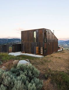 A prefabricated, off-the-grid vacation home in eastern Washington.