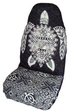 Black Honu (Sea Turtle) Hawaiian Car Seat Covers (Standard Size) by Winnie Fashion
