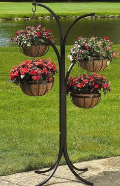 CobraCo - 4-Arm Plant Stand Tree w 12 in. Hanging Baskets in Black