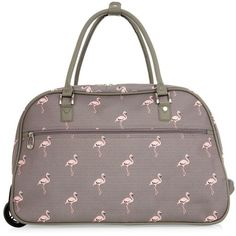 Grey Flamingo Print Trolley Bag ($35) ❤ liked on Polyvore featuring bags and luggage