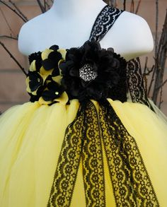 Yellow Black Lace Flower Girl Tutu Dress