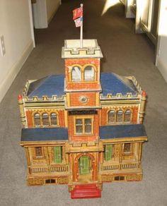 Antique-Gottschalk-Blue-Roof-National-Guard-doll-house-building-c1904