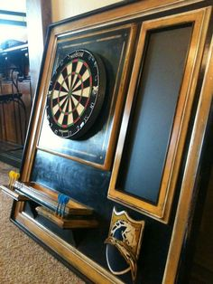San Diego Chargers dartboard Dart Board Backboard, Dart Board Cabinet, Dartboard Cabinet Diy, Dartboard Ideas, Pool Table Room, Chicago Cubs World Series, Home Bar Designs, Code Black, San Diego Chargers