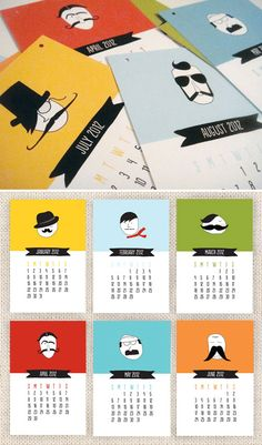 mustache calendar I like the simple colour schemes and simple illustrations Calendar Layout, 2012 Calendar, Calendar Ideas, Book Design, Layout Design, Print Design, Design Design, Cover Design, Kalender Design