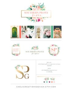 Southern Peony Gifts logo and brand design by Chelsea Creations Design
