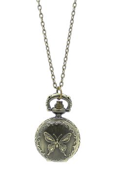 Butterfly Pocket Watch Pendant Necklace... im wearing this exact necklace right now!