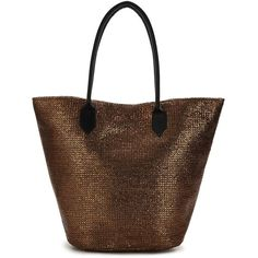 V By Very Metallic Beach Bag ($19) ❤ liked on Polyvore featuring bags, handbags, metallic tote handbags, beach tote, sling purse, brown handbags and brown purse