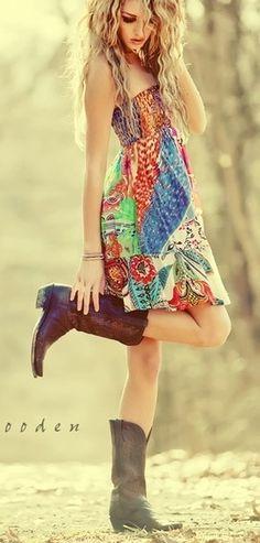 boho sundress with cowboy boots... yes please senior photos, senior picture ideas, outfit ideas for senior pictures, what to wear, w2w, senior girl pose, senior style