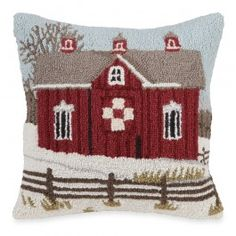 Lover's Knot Barn Hooked Wool Pillow