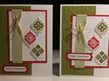 Stampin Up Mosaic Madness 2013 Christmas card. Very Merry Tags. SU Chevron ribbon - colours Real Red & Old Olive. Gloria Kremer demonstrator