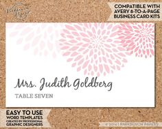Place Card Template - Mums - BLUSH -  DIY Editable Word Template, Instant Download, Printable, AVERY compatible   $10.00 www.parkbenchpaperie.etsy.com