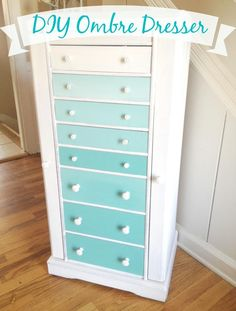 Ombre style coloring is all the rage in home décor. Ombre colored pieces give a water color effect, where the color starts off light and trickles down to a bolder hue. You can add the look of ombre easily to your space by using a simple painting technique. Take a look below at how to paint this DIY Ombre dresser using ombre coloring. It is easier than you may think and the finished result is something that looks of boutique quality. Take a peek!