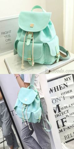 Fresh Mint Green Pure Color Girls Rucksack Candy Canvas College Backpack for big sale! Green Backpacks, Cute Backpacks, Girl Backpacks, School Backpacks, Colorful Backpacks, Lace Backpack, Retro Backpack, Floral Backpack, College Bags For Girls