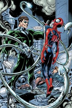 Doctor Octopus & Spider-Man by Mark Bagley Amazing Spiderman, Spiderman Art, Comic Villains, Marvel Characters, Marvel Dc Comics, Marvel Heroes, Dr Octopus, Marvel Ultimate Spider Man, Spiderman Pictures