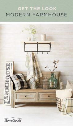 Vintage farmhouse with a twist. Start with warm whites, exposed wood and black accents. Pair contemporary furniture with rustic farmhouse pieces. Mix in industrial lighting or storage and decor in a weathered metal patina to contrast with your light palette and you are on your way to achieving this great trend. Shop the look.