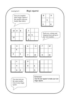 3x3 magic square worksheet for kids | Math Printables | Pinterest ...
