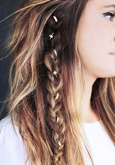 Grab some rings, loop them through your hair, and show off a sparkly braid.