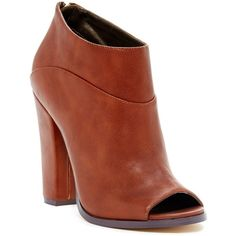 Michael Antonio John Open Toe Bootie ($37) ❤ liked on Polyvore featuring shoes, boots, ankle booties, ankle boots, cognac, chunky heel boots, chunky high heel boots, high heel ankle boots, chunky heel booties and open toe ankle boots
