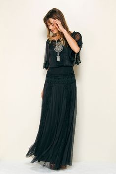 Sexy black maxi + sterling ethnic statement piece. Farm Rio.