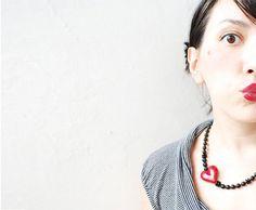 Valentine's day Red Heart Necklace by LiperlaHandmadeGlass on Etsy, $34.00