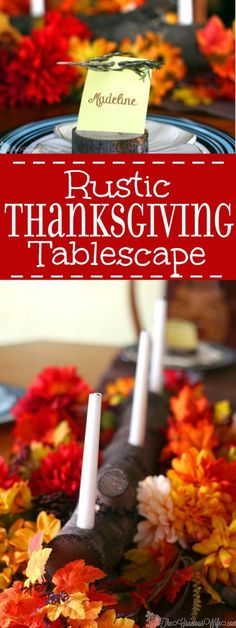 Rustic Thanksgiving Tablescape - Make your Thanksgiving table super special with these rustic DIY Thanksgiving table decorations for your home. Plus DIY wood slice place cards. Rustic Thanksgiving, Thanksgiving Traditions, Thanksgiving Table Settings, Thanksgiving Tablescapes, Thanksgiving Crafts, Thanksgiving Decorations, Holiday Decorations, Holiday Ideas, Log Centerpieces