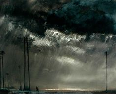Theodore Major (British, 1908-1999), Dark Sky at Wigan. Oil on board.
