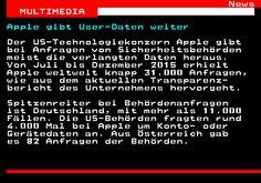461.1. News MULTIMEDIA. Apple gibt User-Daten weiter. Der US-Technologiekonzern Apple gibt bei Anfragen von Sicherheitsbehörden meist die verlangten Daten heraus. Von Juli bis Dezember 2015 erhielt Apple weltweit knapp 31.000 Anfragen, wie aus dem aktuellen Transparenz- bericht des Unternehmens hervorgeht. Spitzenreiter bei Behördenanfragen ist Deutschland, mit mehr als 11.000 Fällen. Die US-Behörden fragten rund 4.000 Mal bei Apple um Konto- oder Gerätedaten an. Aus Österreich gab es 82…