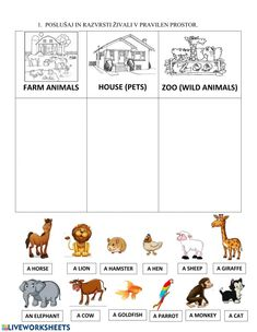 Zoo Animal Activities, Farm Animals Preschool, Animal Worksheets, Kids Math Worksheets, 1st Grade Worksheets, Zoo Animals, Animals For Kids, Preschool Activities, English Activities
