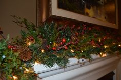 Your place to buy and sell all things handmade Rustic Fireplace Mantle, Fireplace Garland, Rustic Fireplaces, Berry Garland, Light Garland, Christmas Decorations, Christmas Tree, Holiday Decor, Christmas Ideas